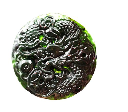 Chinese Carved Jade Pendant (MSFGJZM Black Jade Pendant Necklace Security Peace Car Hanging Ornament Decoration (Dragon))