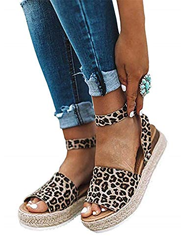 SurBepo Women's Platform Espadrilles Slide Sandals Criss Cross Slide-on Open Toe Faux Leather Summer Flat Sandals(7.5, 3-Leopard) (Animal Print Platform)