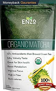 Enzo's Tea Collection - Premium Organic Matcha 2oz - Drinking Grade Macha Green Tea Powder for Hot & Cold Tea , Fresh Tropically Grass Undertone The Perfect Drink to Start the Day