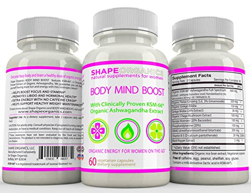 Shape Organics Body Mind Boost Energy Clarity Focus Concentration Mood Attention Brain and Nervous Anti Anxiety Stress Panic Depression Improve Memory Support w/Ashwagandha DMAE Ginseng Bacopa Ginkgo