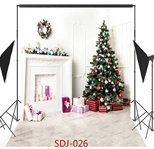 10x10ft Indoor Christmas Tree & Christmas Fireplace & Christmas Gift Series Poly Fabric Photo Backdrops Customized Studio Background Studio Props (Homemade Halloween Gift Ideas)