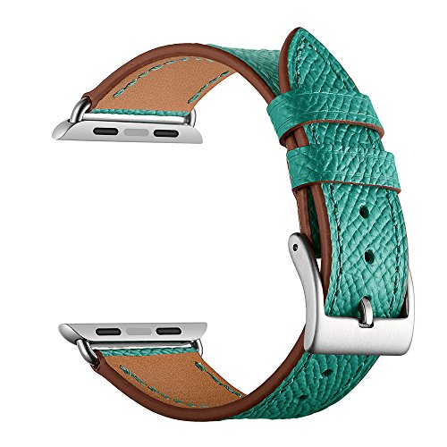 Leather Band for Apple Watch Band 38mm 42mm, Sport iWatch Strap Band with Stainless Metal Buckle Clasp iwatch Series 1 2 3 Replacement Strap - Silver Green Leather