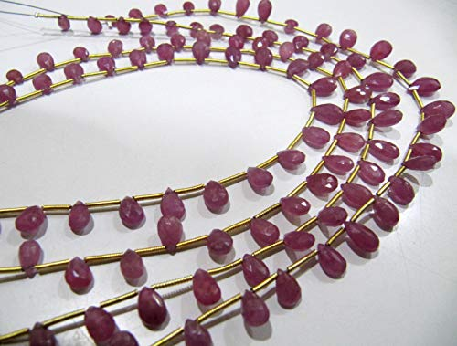 Natural Ruby Pear Shape briolette 4x7 mm to 6x10 mm Graduated Beads Strand 10 inches Long Gemstone Jewelry Making Beads ()