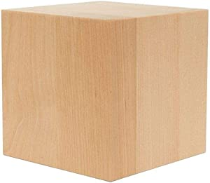 4 inch Large Wood Cubes, Pack of 1 Square Wood Block for DIY, Wooden Baby Shower Blocks for Decorating, by Woodpeckers