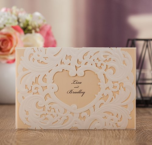 Wishmade 50x White Laser Cut Heart Design Wedding Invitations Cards Kit With Beige Color Tri-fold Printable Insert Pages For Wedding Party Birthday AW7018