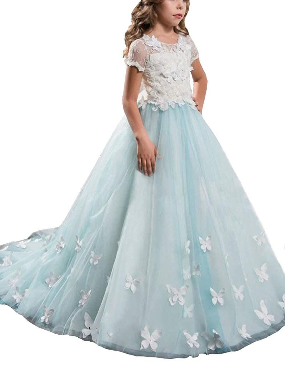 4bab13a91 Amazon.com: Mulanbridal Lace Flower Girl Dress Butterfly Kids First Communion  Gown Princess Wedding Royal Train: Clothing