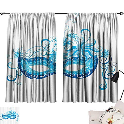 Anzhutwelve Valance Curtains Masquerade Decorations Collection,Venetian Mask Majestic Impersonating Enjoying Halloween Theme Image Print,Navy Turquoise W55 x L39 Blackout Window Treatment]()