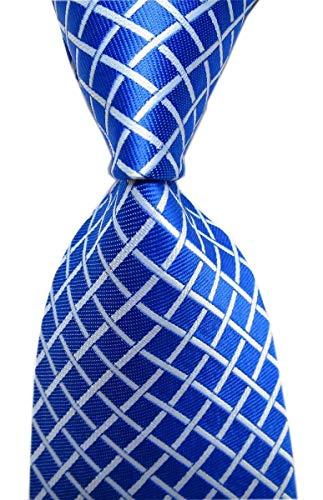 Secdtie Men's Royal Blue Check White Striped Neck Tie Accessory Evening Necktie