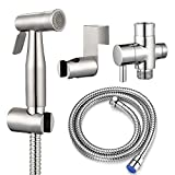 Gzila Hand held Bidet Sprayer Dual Function (Soft/Jet), Adjustable Handheld Muslim Shattaf Kit Cloth Diaper Spray Toilet Set, 304 Stainless Steel Attachment Brass T Adapter