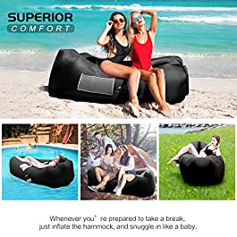 FRETREE Inflatable Lounger Air Sofa Hammock – Portable Anti-Air Leaking & Waterproof Pouch Couch and Beach Chair Camping Accessories for Parties, Travel, Camping, Picnics, Pool, Large