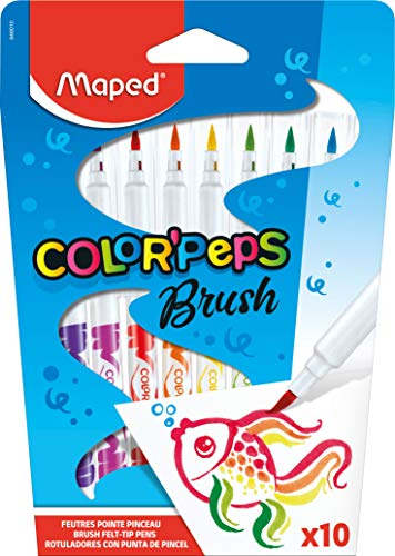 Maped Color'Peps Brush Tip Ultrawashable Markers, Assorted Colors, Pack of 10 (848010) (Maped Color Peps)