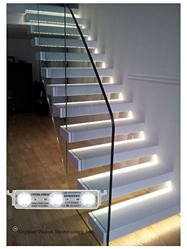Price comparison product image Crystal Vision Samsung Installed Stairway Step Light White LED Module Made in Korea (No Sensor) (25ft)