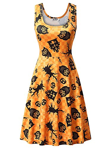 HUHOT Skater Dresses, Ladies Sleeveless Casual A Line Halloween Print Party Midi Dress XX-Large 17039-2]()