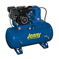 Jenny J11HGA-30T Single Stage Service Vehicle Electric Start Gas Powered Air Compressor with J Pump, 30 Gallon Tank, 11 HP