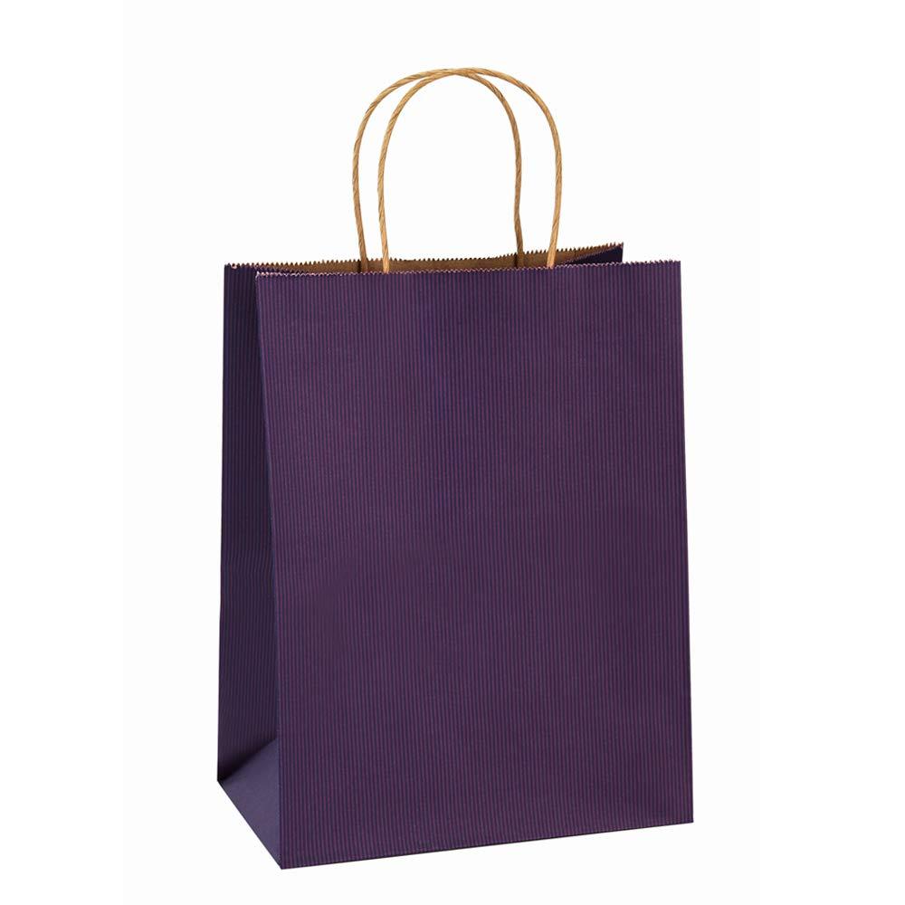 Gift Bags 8x4.75x10.5'' 25Pcs BagDream Shopping Bags,Cub, Paper Bags, Kraft Bags, Retail Bags, Purple Stripes Paper Bags with Handles
