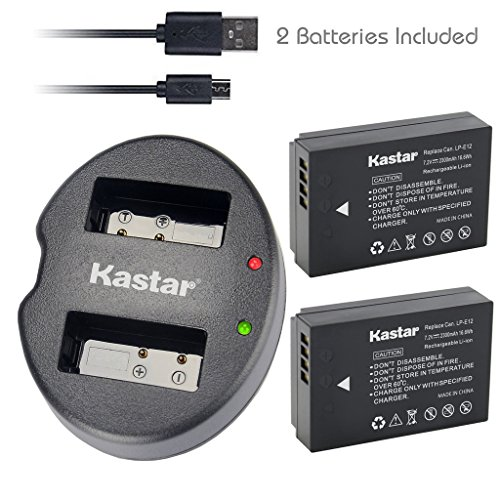 Kastar Battery (X2) & Dual USB Charger for Canon LP-E12 and Canon EOS 100D, EOS Rebel SL1, EOS M Camera System & Canon LPE12 Grip by Kastar