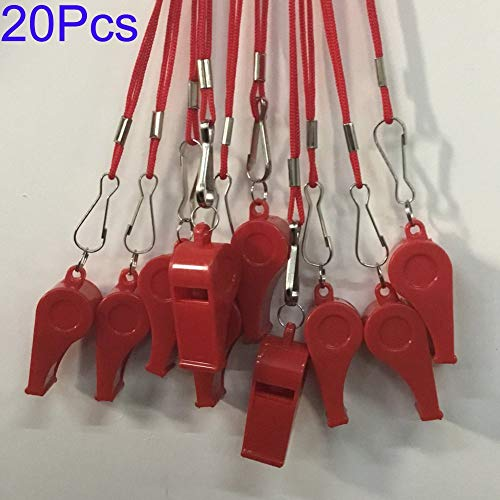 Kaqkiasiog 20 Pcs Red Plastic Loud Whistles with Lanyard for Referee Coaches Basketball Football Sports Training Game Event Lifeguard Survival Emergency Fun School Kids Tool Set Suppliers]()