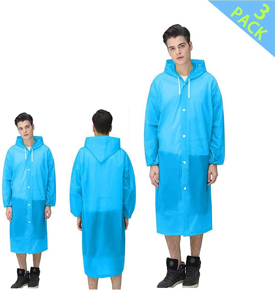 JUDA Rain Poncho Perfect for Travel 3 Pack Waterproof /& Windproof Raincoat Rain Resistant Poncho with Elastic Drawstring Hood and Sleeves Theme Parks and Outdoor Festivals