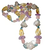 Crystal Medley Necklace 01 Quartz Rose Pendant Precious Gems Apatite Amethyst Citrine Happiness Crystals 32''