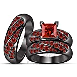 ArtLine Jewels Ladies/Gents 14K Black Gold Princess & Round Cut Garnet Ring Wedding Band Trio Ring Set