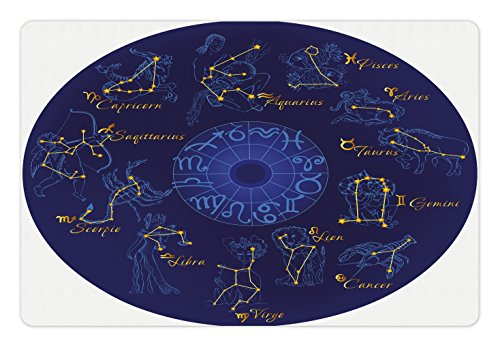 Lunarable Zodiac Pet Mat for Food and Water, World Shaped Zodiac Icons Chart with Celestial Moves Featured Planetary Effects Artwork, Rectangle Non-Slip Rubber Mat for Dogs and Cats, Blue
