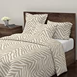 Roostery Tiger Duvet Cover Zebra Animal Print Etosha Africa by Willowlanetextiles 100% Cotton King Duvet Cover