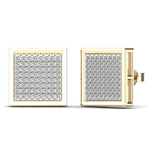 JewelAngel Men's 10K Yellow Gold 3/8ct TDW Diamond Square Stud Earrings (H-I, I1-I2)