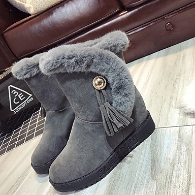 RTRY Zapatos De Mujer Pu Moda Otoño Invierno La Nieve Botas Botas Botas De Tacón Bajo Botines/Botines Borla Para Casual Verde Gris Negro US7.5 / EU38 / UK5.5 / CN38