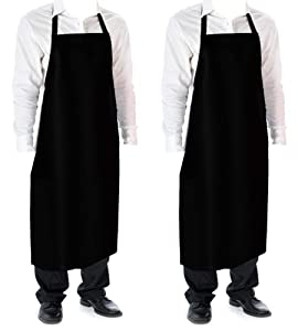 Cozy Home Vinyl Waterproof Aprons Durable Ultra Lightweight Extra Long Black 2 pack
