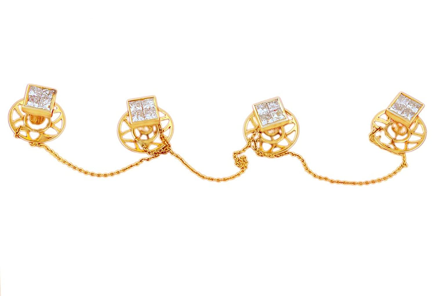 Beautiful , Mens Jewellery Collection Of Sakshi Button Set In diamond( 2.89 Cts )18KT( 10.75 Gms )