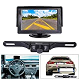 "Noiposi Backup Camera and Monitor kit for Car Universal Waterproof Night Vision Linsence Plate Rear view Camera and 4.3"" TFT LCD Rear view Monitor (monitor and camera)"