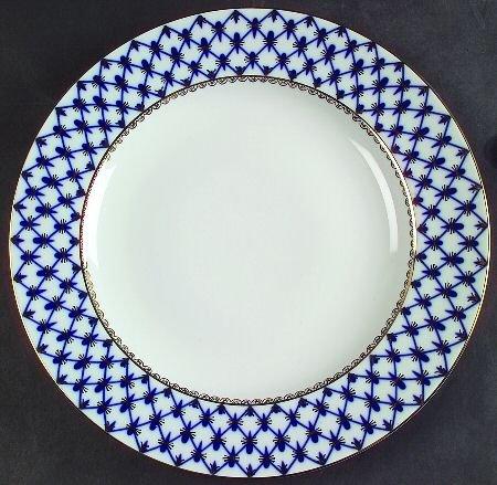 Lomonosov Cobalt Net Large Dinner Plate, Fine China Dinnerware