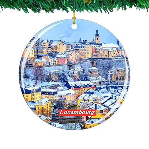 Weekino Luxembourg Christmas Ornament City Travel Souvenir Collection Double Sided Porcelain 2.85 Inch Hanging Tree Decoration (Christmas Luxembourg)