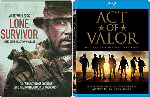 Navy True Story Act of Valor 2 Blu-Ray Bundle & Lone Survivor Seals Steelbook Double Feature Movie Bundle (Act Of Valor Bluray)