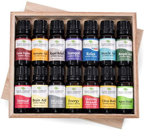 Euro Top Set (14 Essential Oil Set (14 Top Synergies) Includes 100% Pure, Therapeutic Grade of: Germ Fighter, Brain-Aid, Respir-Aid, Energy, Energy, Sensual, Muscle-Aid, Tranquil, Immune-Aid, Relax, Holiday Season, Rapid Relief, Nature Shield, Citrus Burst, Digest-Aid. 10 ml each.)
