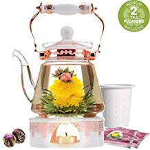 Teabloom Buckingham Palace Teapot & Flowering Tea Gift Set (6 Pieces) - 40 oz Borosilicate Glass Teapot, Porcelain Lid, Teapot Warmer, Stainless Steel Tea Infuser + Two Blooming Teas