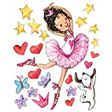 Wallies Peel & Stick Vinyl Wall Decals, Dancing Ballerina with Dog, Hearts, Stars and Butterfly Wall Stickers