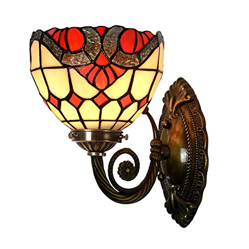 XHJZ-W Wall Lights & Lamp, Tiffany Style Hand-Colored Glass Wall Lamp,Single Head Brass Hallway Wall Sconces,Baroque Luxury Bedroom Bedside Wall Lamp,40W