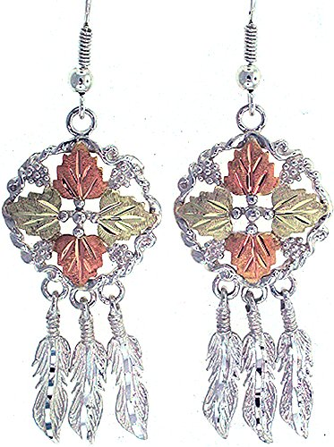Beautiful! Sterling silver Yellow gold Black Hills Gold Dream Catcher Dangle earrings & Pendant