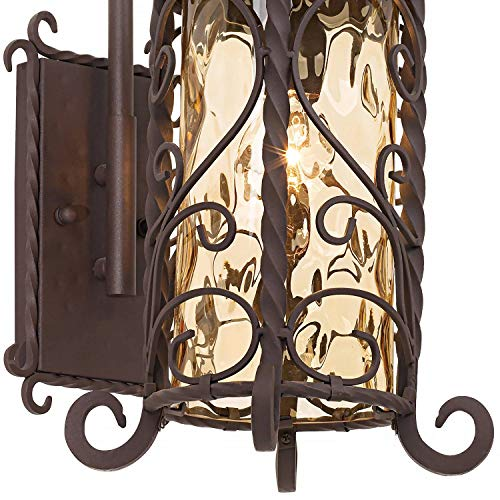 Casa Seville Rustic Outdoor Wall Light Fixture Mediterranean Inspired Dark Walnut Iron Twists 18 1/2'' Champagne Hammered Glass for Exterior House Porch Patio Deck - John Timberland by John Timberland (Image #3)