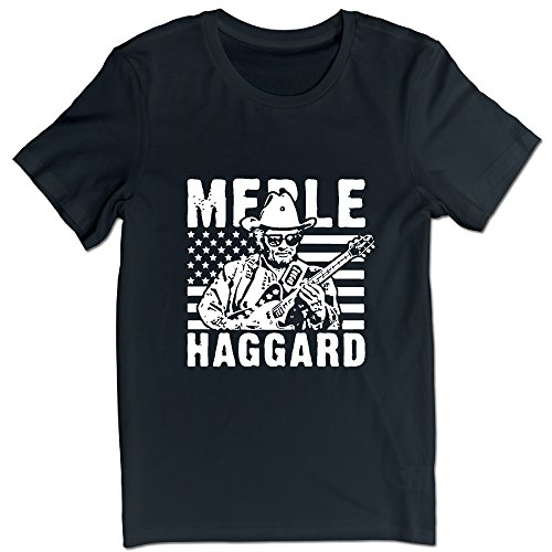 Country Music Merle Haggard Guitar T-shirts For Men Black L