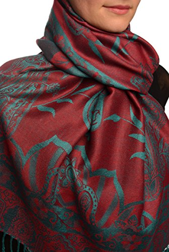 Moroccan Rose On Dark Red Pashmina Feel With Tassels - Rouge ?charpe Taille Unique - 70cm x 180cm