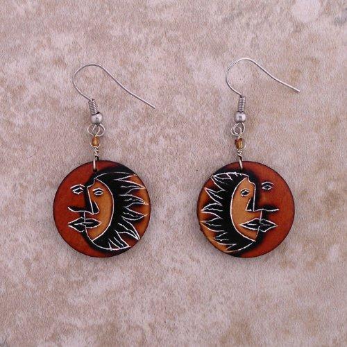 Pattern Earrings Sun and Moon Peru One Pair ()