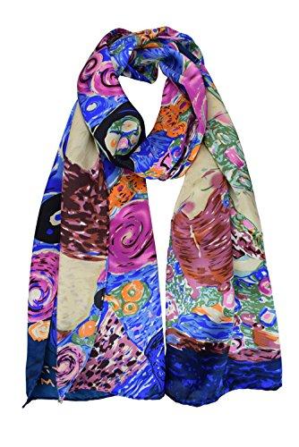 (ELEGNA Women 100% Silk Art Collection Scarves (Klimt's)