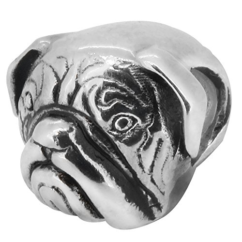 Dog Zable Bead - Zable Sterling Silver Bull Dog Pandora Compatible Bead / Charm