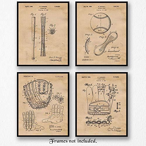 Original Baseball Patent Art Poster Prints - Set of 4 (Four 8x10) Unframed Vintage Style Mitt, Glove, Bat & Baseball Pictures - Great Wall Art Decor Gifts Under $20 for ()