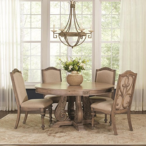 Coaster Home Furnishings Ilana 5-Piece Round Pedestal Table Dining Set Antique Linen