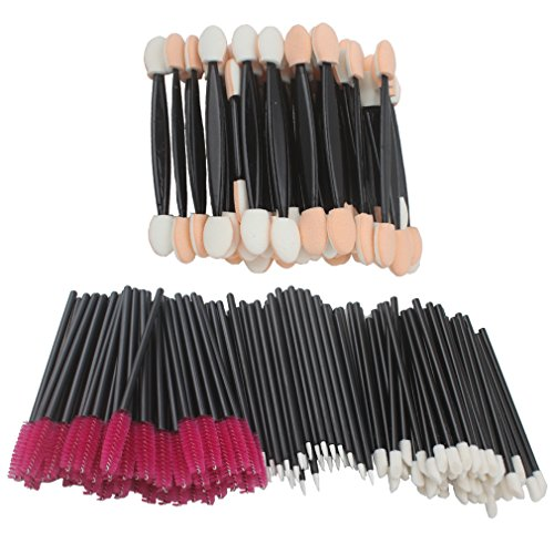 Jaciya 200Pcs Disposable Lip Brushes Eyelash Brushes Dual Sided Eyeshadow Brushes Eyeliner Brushes Makeup Brush Applicator Tool Disposable Eye Shadow Applicator
