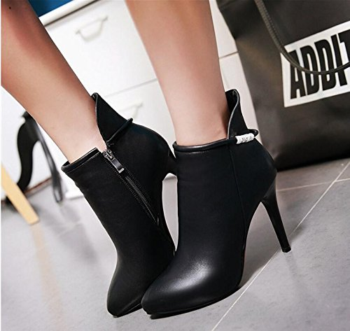 HGTYU de con zapatos la arranca ultra cremallera Choo zapatos de botas botas botas agua grande solo 11 código fina Black perforación mujer hembra lateral con Martin bordada 5cm wOw8qr