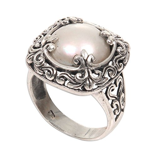NOVICA Square Silver White Cultured Mabe Pearl .925 Silver Cocktail Ring, White Lunar'